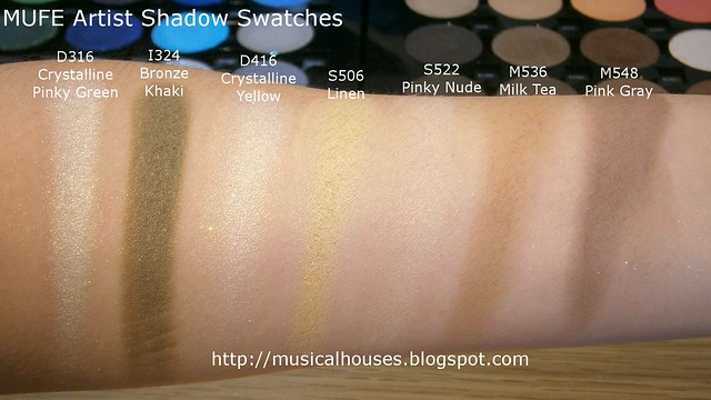 MUFE Artist Shadow Eyeshadow Swatches 1 Row 7