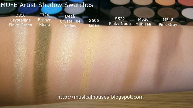 MUFE Artist Shadow Eyeshadow Swatches 1 Row 7