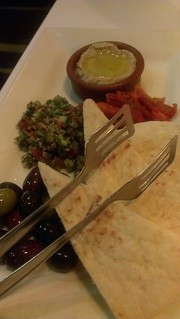Hummus, tabbouleh, sundried tomatoes, pita, olives - Rubyos