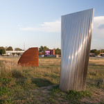 Patrick Marold, (R) Prominence, Stainless Steel, 2013; (L)Serrated Crest, Steel, 2013 - Photograph by Wes Magyar