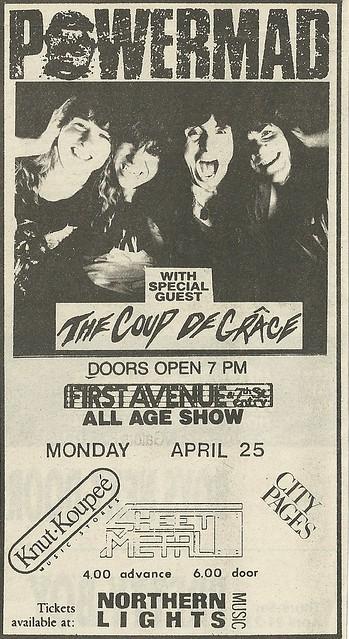 04/25/88 Powermad/ Coup De Grace @ First Avenue, Minneapolis, MN