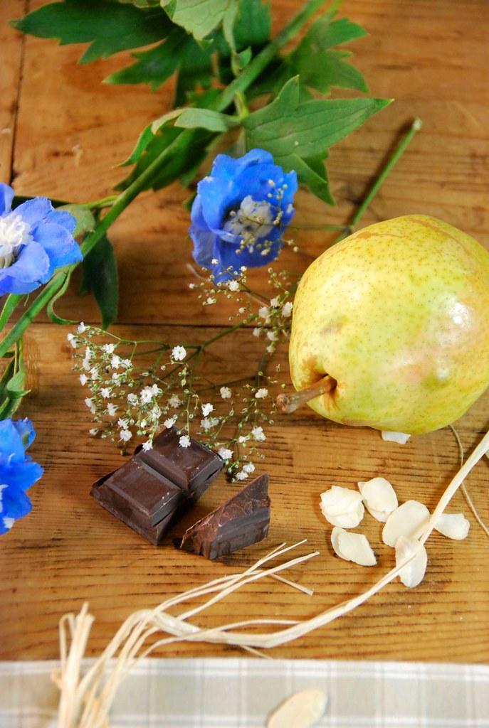 Tarte poire, chocolat et amandes