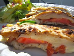 EASY DOES IT # 19 – CHEESE SANDWICH (PARATHA WITH EMMENTALER, TOMATO AND CUCUMBER)