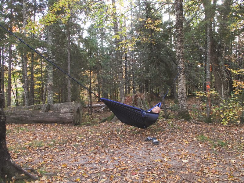 Patrick in Hammock at Cut Log Campsite on SHT