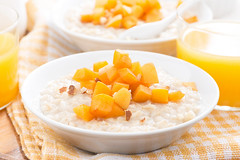 oatmeal with fresh apricots and orange juice for b…