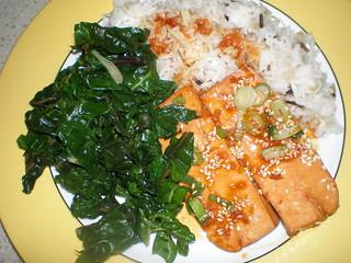 Orange Sesame Tofu; Coconut Lime Basmati Rice; Simple Swiss Chard