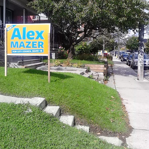 @teammazer at work. This is one of several signs for Toronto city council candidate Alex Mazer I passed yesterday morning.