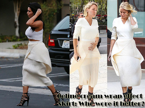 Who wore Céline cream wrap effect skirt better? Kim Kardashian or Lara Bingle?