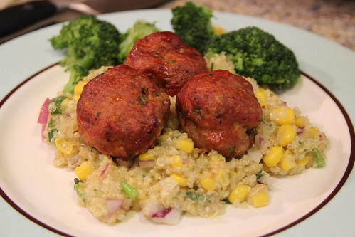 BBQ Turkey Meatballs with Quinoa Corn Salad