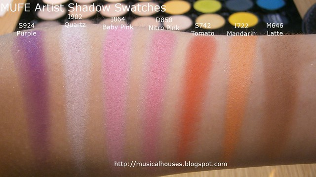 MUFE Artist Shadow Eyeshadow Swatches 2 Row 6