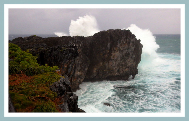 THE TIP OF CAPE HEDO -- Typhoon Waves Shoot High Above a 70-Foot High Wall of Rock