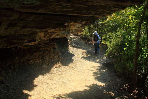 Marilyn Leads the Way along Yellow Rock Trail - Devils Den State PArk, Northwest Arkansas
