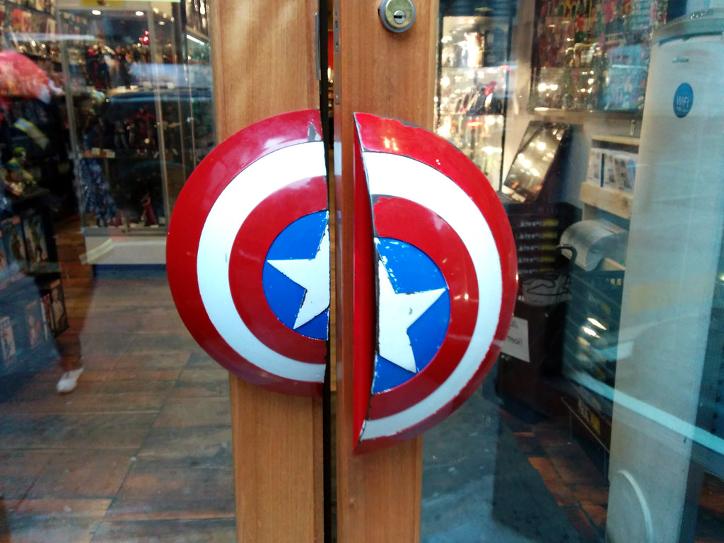Captain America Shield door-handles 1, Forbidden Planet, New York, NYC, NY, USA