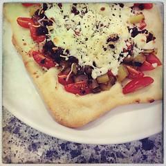 pizza for dinner - soyrizo, potato, tomato, queso fresco