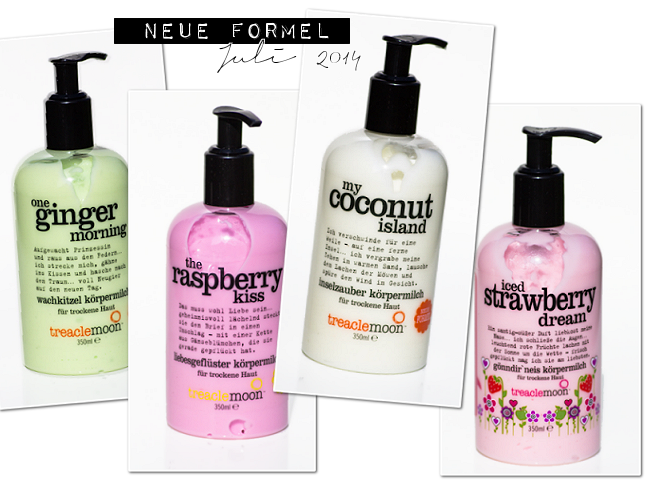 Treaclemoon Körpermilch neue Formel, One Ginger Morning, My Coconut Island, The Strawberry Kiss, Iced Strawberry Dream