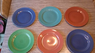 "Thrifted! Six Harlequin 9 1/4"" plates"