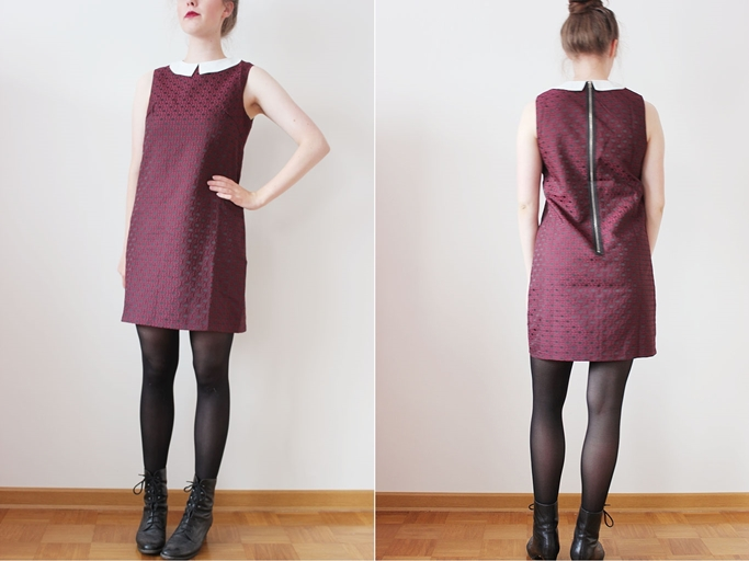 Burgundy shift dress - peter pan dress-chloe dress sugarhillboutique