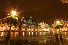 黄金廣場,下雨的夜晚,布魯塞爾,比利時,Grand Place ,Brussels,Belgium,rainy night