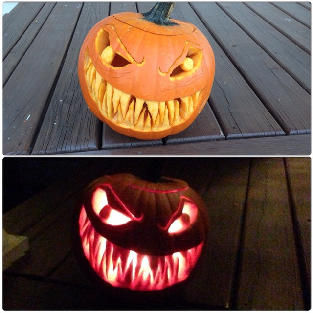 My jack o'lantern is scary in daylight and freaking terrifying at night.