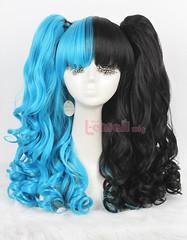 60cm long blue&black Lolita clip on ponytails wavy cos wig C22-c