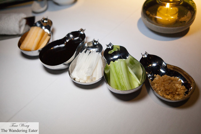 Condiments and toppings for our  Peking duck