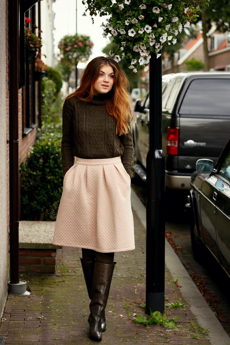 Mijn Outfit Met H Amp M Studio Fall 2014 Boots Midi Rok En