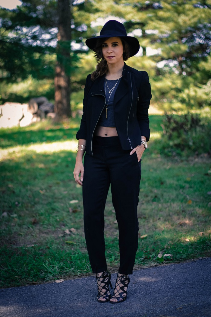 black moto jacket. cigerette pants. strappy heeled sandals. fall hat. fall style. va darling. andréa viza. dc blog. dc blogger. dc fashion. 9