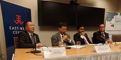 From left to right the panelists are Mr. Pan Tao, Founder, Institute for Sustainable Environment and Energy (ISEE); Shanghai, China; Mr. Prodyut Bora, National Executive Member, Bharatiya Janata Party; Delhi, India; Mr. Abhishek Shah, Constituent Assembly Member, Legislative Parliament, Madheshi People's Rights Forum; Patan, Kathmandu, Nepal; and Mr. Mark Stege, Council Member, Maloelap Atoll Council; Marshall Islands.