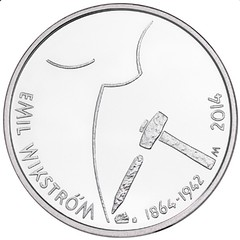 Finland 10 Euro coin on sculptor Emil Wikstrom reverse