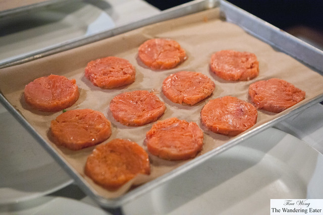 Tray of prepped salmon tartare
