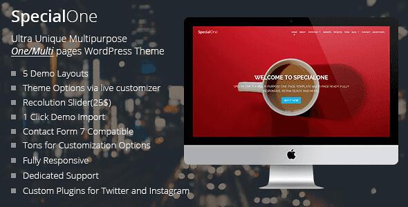 SpecialOne WordPress Theme free download
