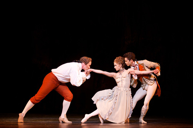 Christopher Saunders as Monsieur G.M., Marianela Nuñez as Manon and Ricardo Cervera as Lescaut in Manon ©ROH 2014. Photo by Alice Pennefather