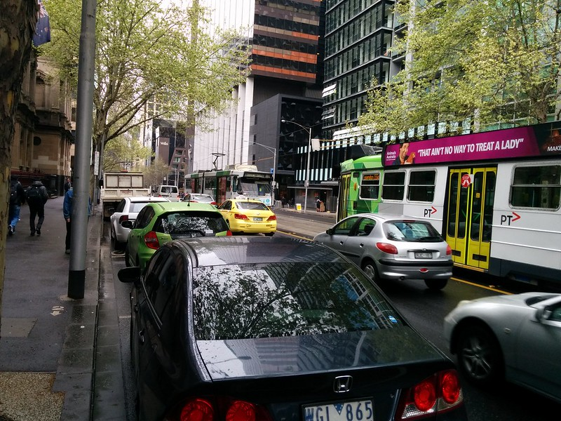 Trams running backwards up William Street