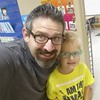 I'm getting a little mini-me at playschool. Cool glasses and spiked hair!