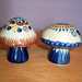 Vintage Tonala Mexican Pottery Hand-Glazed Mushroom Salt & Pepper Shakers