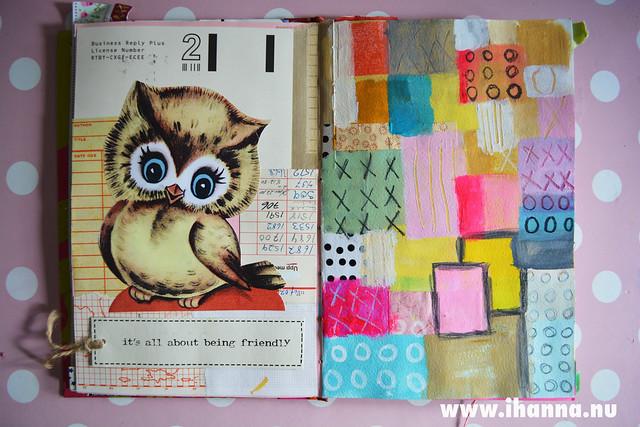 Art Journal detail: Owl + Quilt