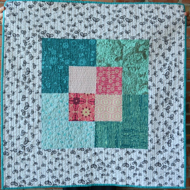Canvas - Baby Quilt with Aqua / Pink