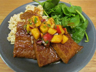 Orange-Glazed Tempeh; Nectarine Salsa