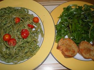 Lemony Cashew-Basil Pesto on Pasta; Simplest Garlic Bread; Back-To-Basics Balsamic Vinaigrette