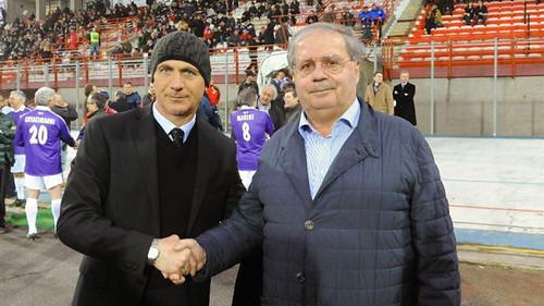 Eugenio Fascetti insieme al tecnico del Catania Giuseppe Sannino