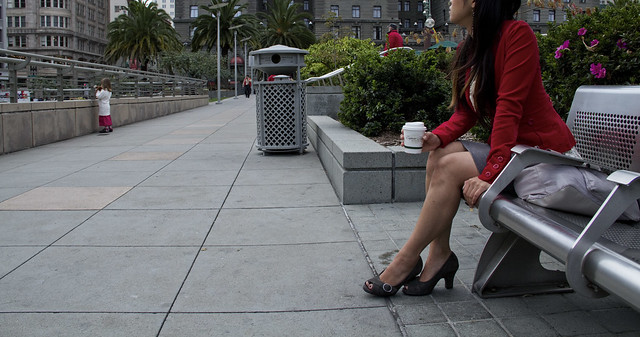 Red dress.  Union Square, San Francisco (2010)