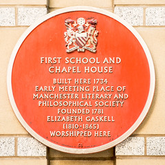 Photo of Elizabeth Gaskell red plaque