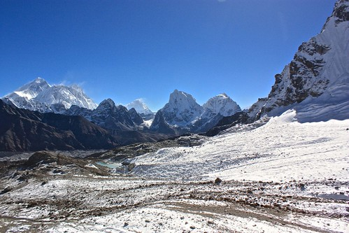 looking back towards Gokyo, Everest, Lhotse as we climb towards Renjo La pass