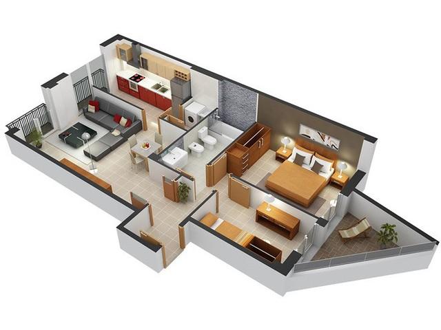 Thiết kế căn hộ chung cư 2 phòng ngủ 6