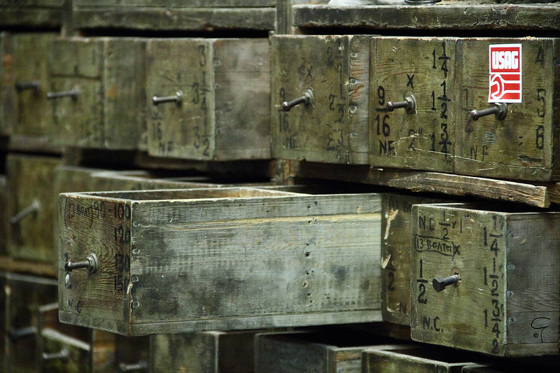 Photo of old wooden drawers.