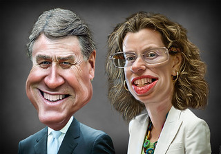 Caricatures: GA David Purdue vs. Michelle Nunn