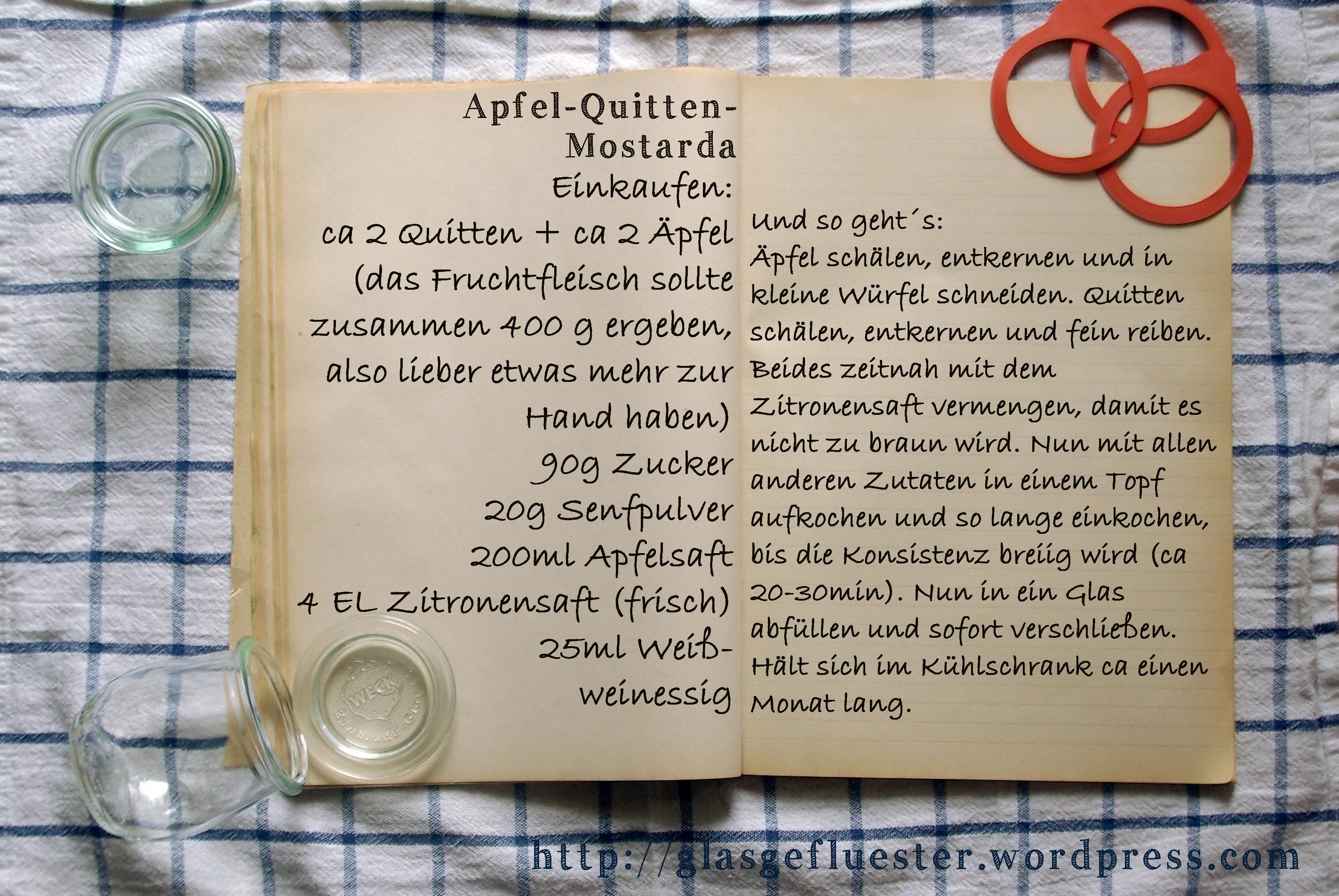 Einkaufszettel Apfel Quitten Mostarda by Glasgeflüster