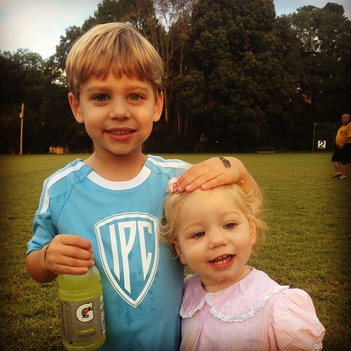 The cutest lightning bolt with his sidekick. #ipcsoccer