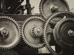 gear, monochrome photography, iron, circle, monochrome, black-and-white,