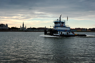 Tug on the Mississippi at Dusk